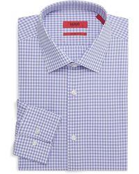 HUGO Sharp-fit Gingham Dress Shirt - Purple
