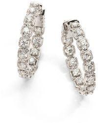 "Saks Fifth Avenue 2 Tcw Ideal Cut Colorless Certified Diamond & 14k White Gold Hoop Earrings/1"" - Multicolour"