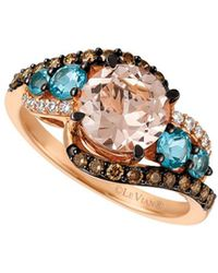 Le Vian - Chocolatier® Strawberry Gold® & Ocean Blue Topaztm Interlocking Ring - Lyst
