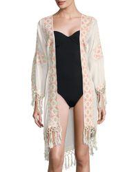 Melissa Odabash Fringed Open-front Robe - Multicolour