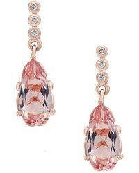 Effy - 14k Rose Gold Diamonds & Morganite Drop Earrings - Lyst