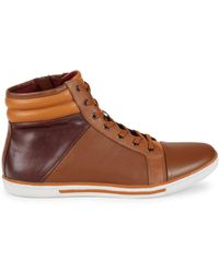Kenneth Cole Caden High-top Leather Sneakers - Brown