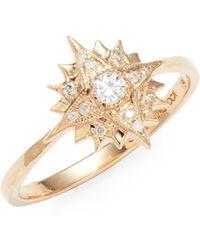 Sara Weinstock Starburst 18k Rose Gold & Diamond Midi Ring - Metallic