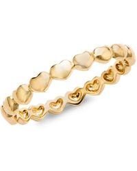 Nephora Women's 14k Yellow Gold Heart Band Ring/size 6.5 - Size 6.5 - Metallic