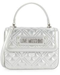 Love Moschino Women's Quilted Metallic Crossbody Bag - Silver