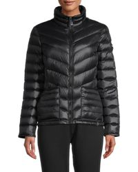Calvin Klein Women's Stand Collar Puffer Jacket - Black - Size L