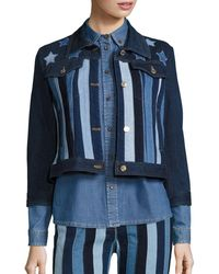 Tommy Hilfiger Stars & Stripes Patchwork Cropped Jacket - Blue