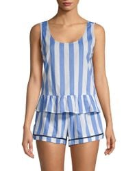 Jane And Bleecker Stripe & Ruffle 2-piece Pyjama Set - Blue