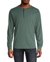 Unsimply Stitched Long-sleeve Cotton Henley - Green