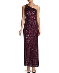 Aidan Mattox One-shoulder Sequin Gown - Purple