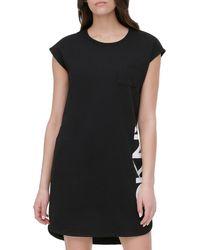 DKNY - Women's French Terry Logo T-shirt Dress - Black - Size L - Lyst