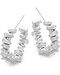 Pure Navy - Crystal & Silver Hoop Earrings - Lyst