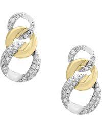 Effy Duo Diamond And 14k White And Yellow Gold Earrings - Metallic