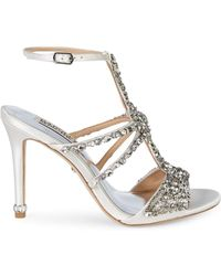 Badgley Mischka Hughes Embellished Metallic High-heel Sandals - White