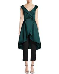 Aidan Mattox Women's Peplum Jumpsuit - Forest Black - Size 6 - Green