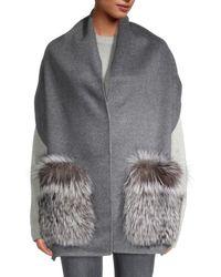 Gorski Fox Fur & Wool Stole - Grey