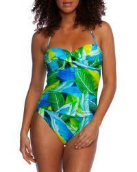 La Blanca Tropical-print Halter One-piece Swimsuit - Blue