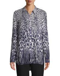 Elie Tahari Women's Ingunn Leopard-print Button-front Shirt - Quartz Multi - Size Xs - Multicolour