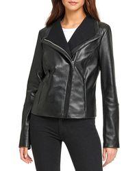 DKNY Asymmetric Leather Jacket - Black