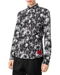 HUGO Ero Extra Slim-fit Graphic Crowd Shirt - Black