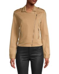 BCBGMAXAZRIA Asymmetrical-zip Jacket - Natural