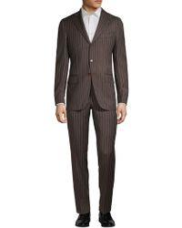 Eidos Pinstriped Wool Suit - Brown