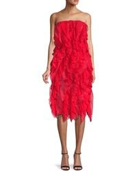 Oscar de la Renta Pleated Ruffle Silk Dress - Red