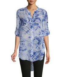 Calvin Klein Tie-dyed High-low Tunic - Blue