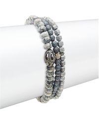 Bavna Agate, Hematite & Diamond Three-strand Beaded Bracelet - Multicolour