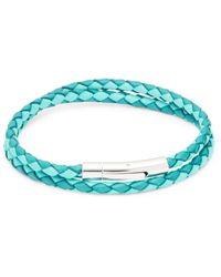 Tateossian Stainless Steel & Leather Wrap Bracelet - Blue