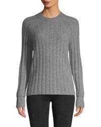 Saks Fifth Avenue Ribbed Raglan-sleeve Cashmere Sweater - Gray