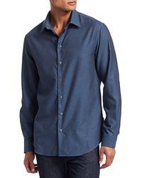 Giorgio Armani Micro Pattern Shirt - Blue