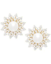 Adriana Orsini - White Faux Pearl & Crystal Stud Earrings - Lyst