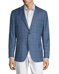 Saks Fifth Avenue Plaid Wool & Silk-blend Sportcoat - Blue