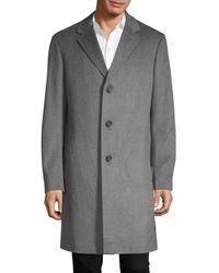 Saks Fifth Avenue Men's Long Wool Coat - Navy - Size M - Blue