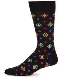 Bugatchi - Multicolored Diamond-pattern Socks - Lyst