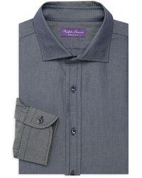 Ralph Lauren Purple Label Geo-printed Long-sleeve Dress Shirt - Blue