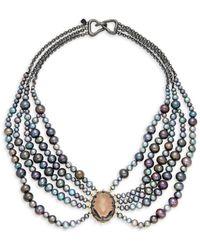 Alexis Bittar Women's 10k Gunmetal-plated, 10k Goldplated, Crystal & Faux Pearl Bib Necklace - Metallic