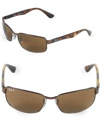 Ray-Ban 60mm Polarized Rectangle Sunglasses - Brown