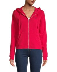 True Religion Women's Logo-print Cotton-blend Jacket - Ruby Red - Size Xs