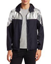Saks Fifth Avenue Modern Metallic Colorblock Jacket - Blue