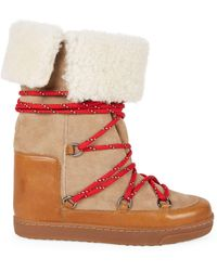 Isabel Marant Nowly Shearling-lined Suede & Leather Snow Boots - Natural