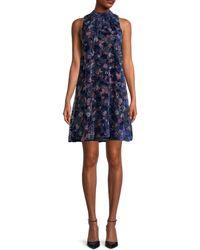 Tommy Hilfiger Floral Chiffon Mockneck Dress - Blue