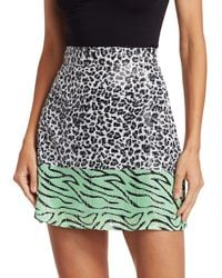 Olivia Rubin Animal-print Sequin Mini Skirt - Multicolour