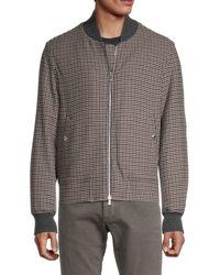 Brunello Cucinelli Wool & Cashmere Houndstooth Bomber Jacket - Grey