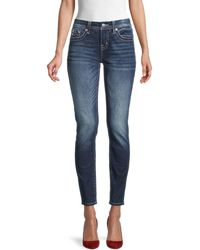 Miss Me Low-rise Wings-embroidered Skinny Jeans - Blue