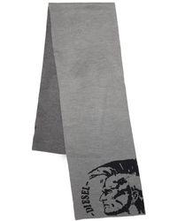 DIESEL Intarsia-knit Logo Scarf - Grey