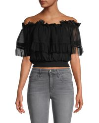 Cynthia Rowley Tulle Off-the-shoulder Ruffle Blouse - Black