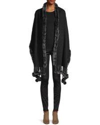 Gorski Women's Rabbit Fur-trim Wool & Cashmere-blend Wrap - Black Grey