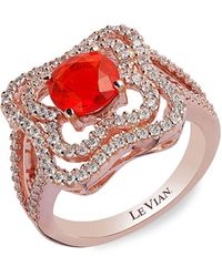Le Vian 14k Strawberry Gold®, Neon Tangerine Fire Opal® & Vanilla Diamonds® Ring - Metallic